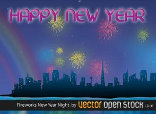 Night City and New year Celebration with Fireworks Vector