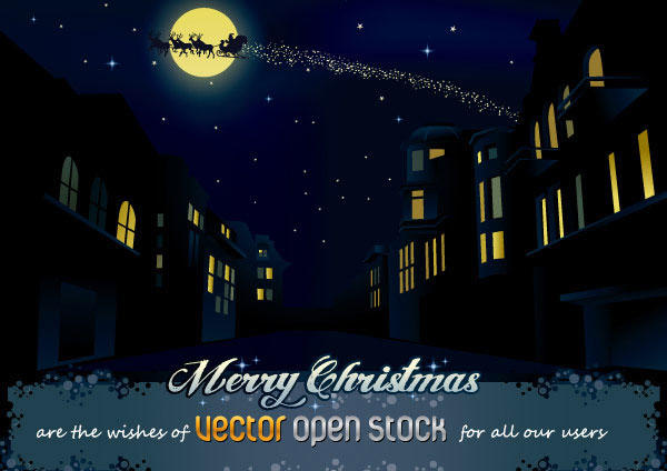 Christmas Night in the City Vector