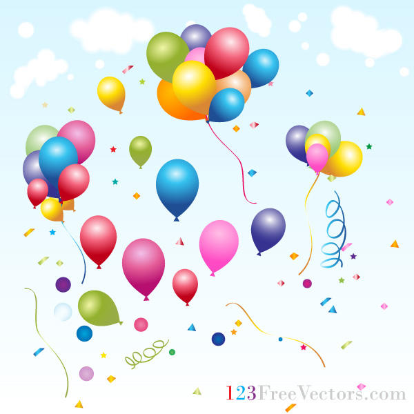 Vector Holiday Background with Festive Balloons