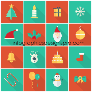Vector Flat Christmas Icons Set Free