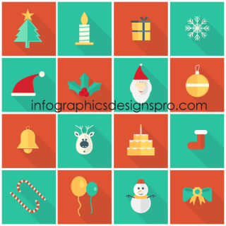 Vector Flat Christmas Icons Set Free