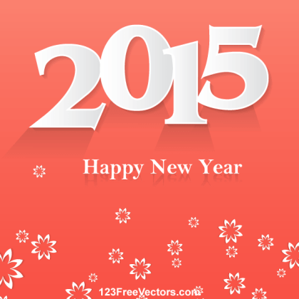 Happy New Year 2015 Vector Background with Flowers
