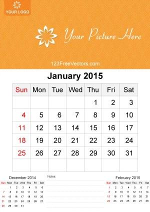 January 2015 Calendar Template Vector Free