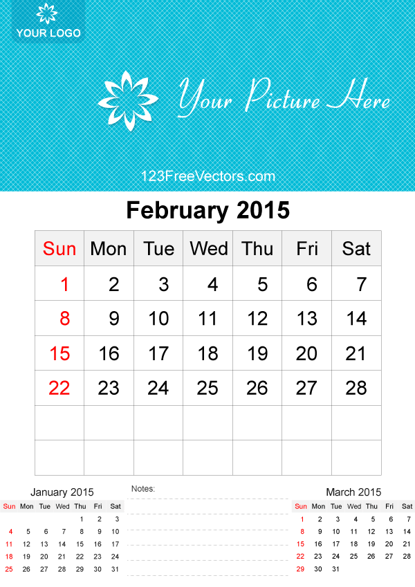 February 2015 Calendar Template Vector Free 123freevectors