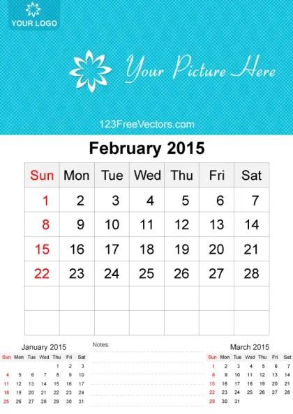 February 2015 Calendar Template Vector Free