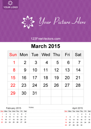 March 2015 Calendar Template Vector Free