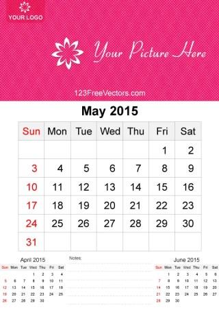 May 2015 Calendar Template Vector Free