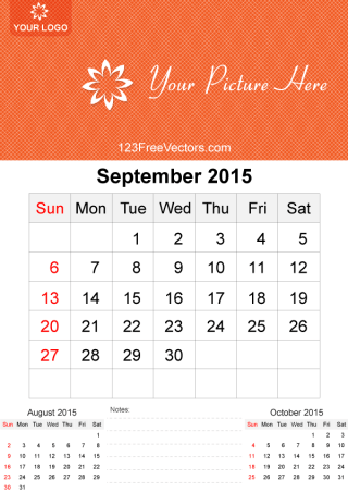 September 2015 Calendar Template Vector Free