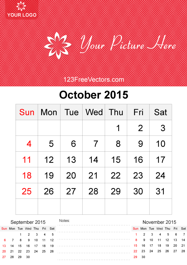 October 2015 Calendar Template Vector Free