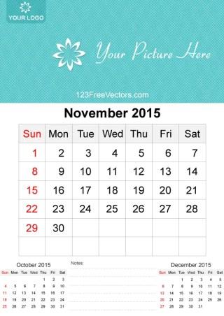 November 2015 Calendar Template Vector Free
