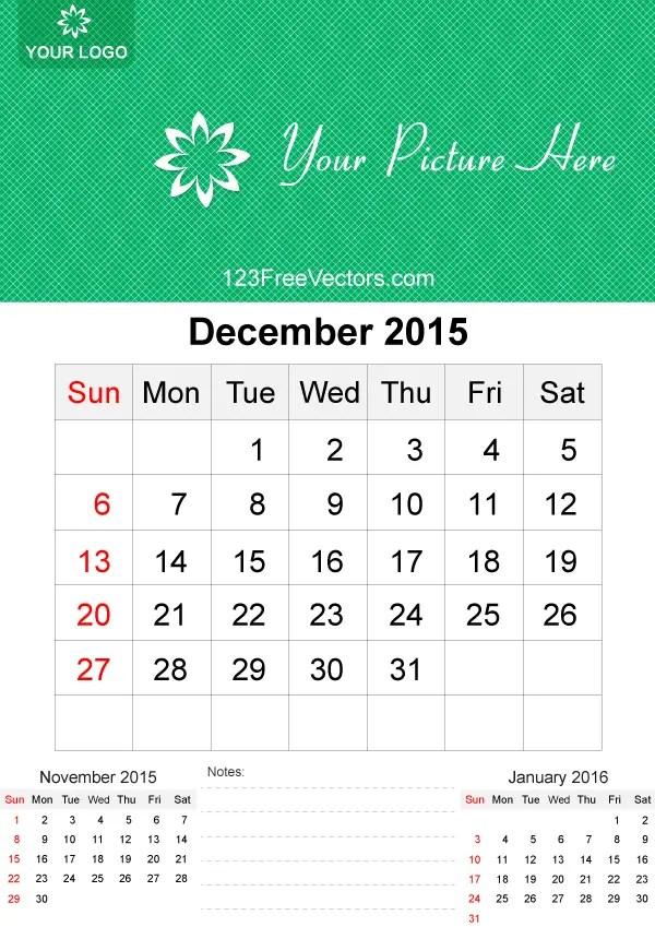December 2015 Calendar Template Vector Free