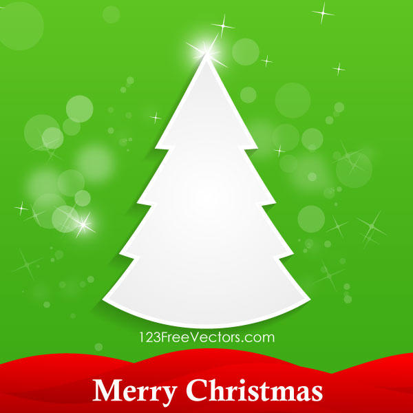 White Christmas Tree on Green Background Vector Card