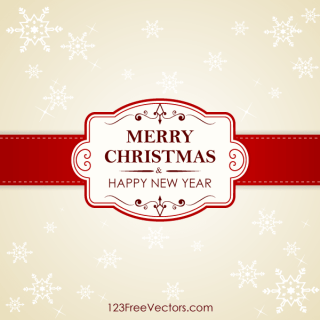 Vector Christmas and New Year Greeting Card with Ornate Frame on Snowflake Background