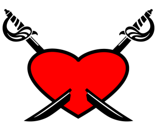 Love Red Heart with Crossed Swords Vector