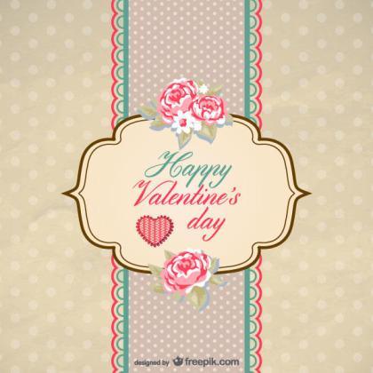 Vintage Valentine Card Vector Template