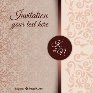 Vintage Wedding Invitation Template with Damask Pattern