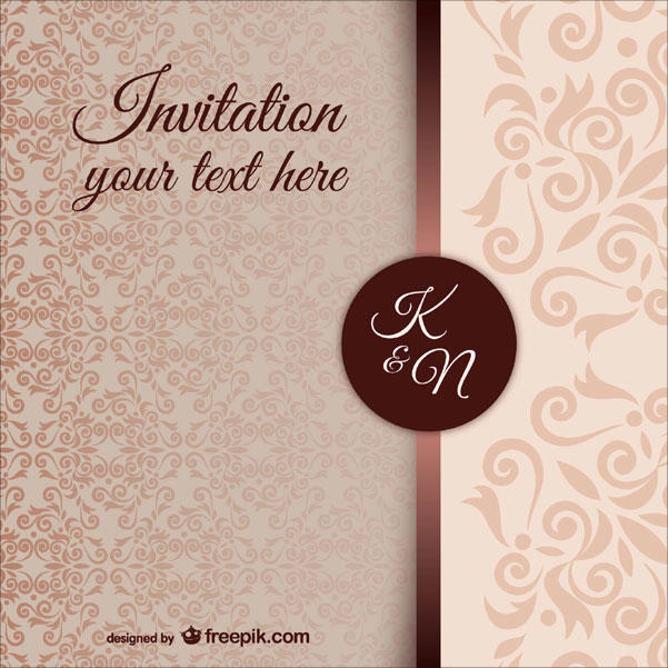 Vintage Wedding Invitation Template with Damask Pattern