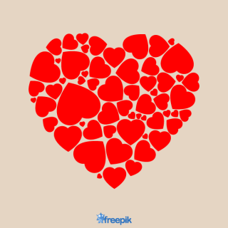 Red Heart Shaped with Little Hearts Vector Graphics