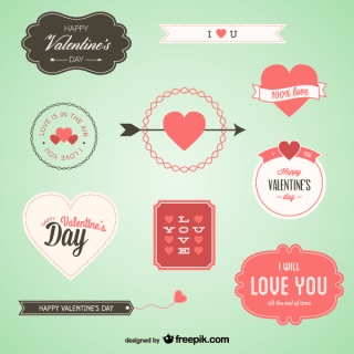 Vector Set of Valentine's Day Banners, Badges