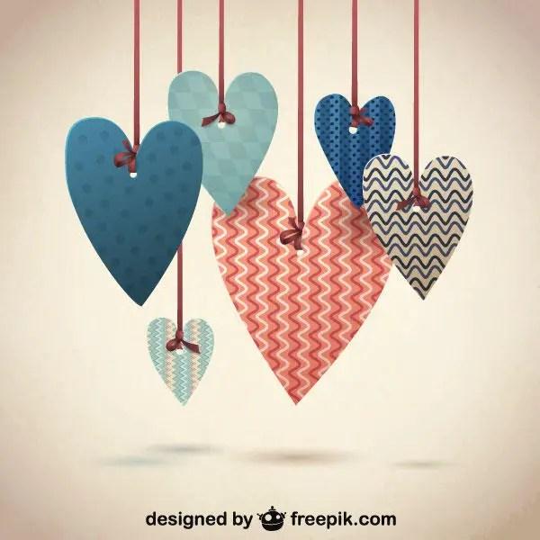Retro Hanging Heart Valentine's Day Background Vector