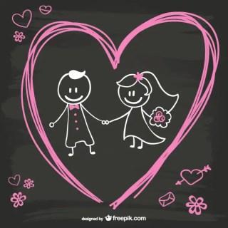 Cartoon Bride and Groom on Blackboard Background