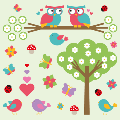 Valentine Vectors – Cartoon Nature Elements Flowers, Tree, Butterflies, Hearts, Birds