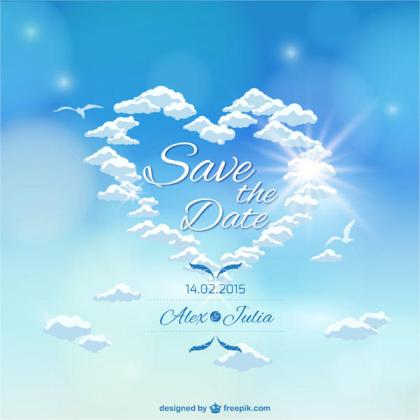 Heaven Sky Wedding Invitation Card Template Vector