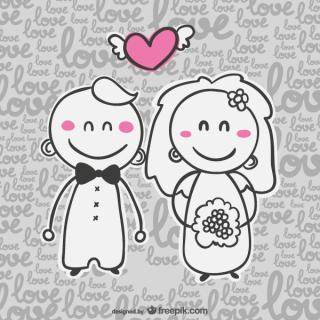 Vector Wedding Invitation Card with Cartoon Bride and Groom