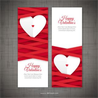 Valentine's Day Vertical Banners Vector