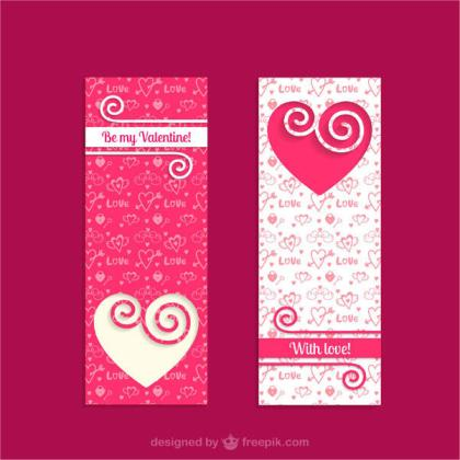 Vintage Valentines Banners Vector Template
