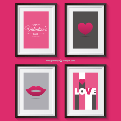 Valentine's Day Greetings with Photo Frame Vector