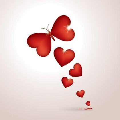 Red Butterfly Heart Vector Background