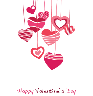 Happy Valentines Day Vector Graphic with Hanging Heart