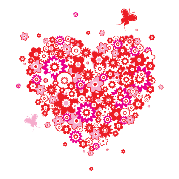 Lovely Heart Shaped Flowers Vector Image