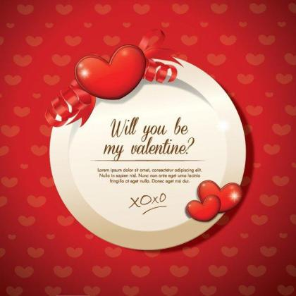 Circle Frame with Red Heart on Abstract Background for Wedding Invitation, Valentines Day Greetings