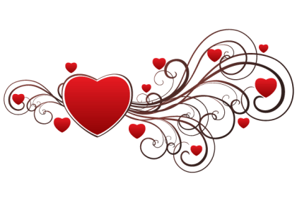 Valentine Red Heart with Floral Ornaments Vector
