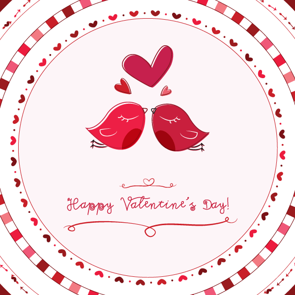 Valentine Card Love Birds Vector Graphic