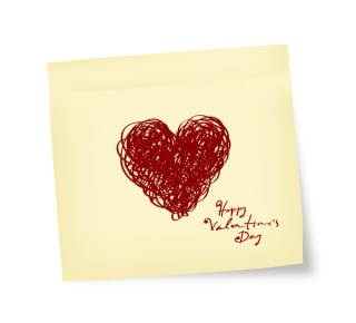 Yellow Sticky Note with Sketch Doodle Heart Vector