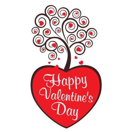 Decorative Swirl Floral Tree with Red Heart Vector