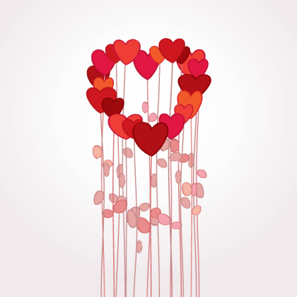 Lovely Red Heart Flowers Valentine Background Vector
