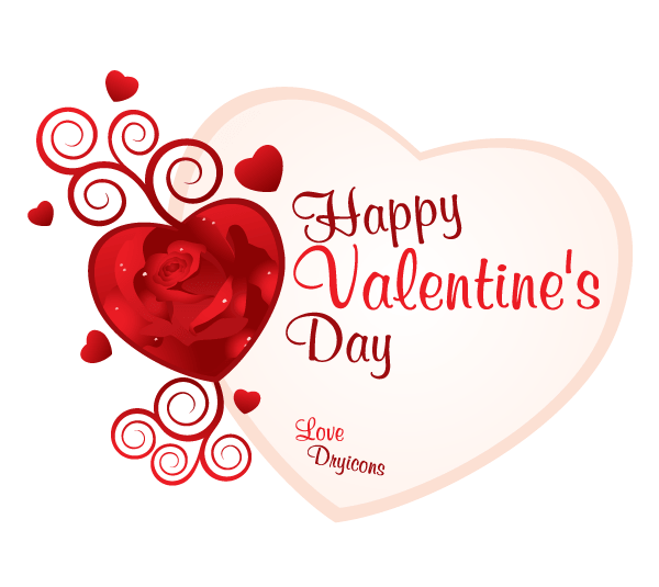 Red Rose Heart with Swirls Valentine's Day Card Vector