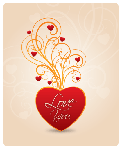 Vector Red Heart Floral Decoration with Love You Lettering on Abstract Background