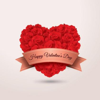 Heart Shaped Red Rose Flowers and Banner with Happy Valentine's Day Text