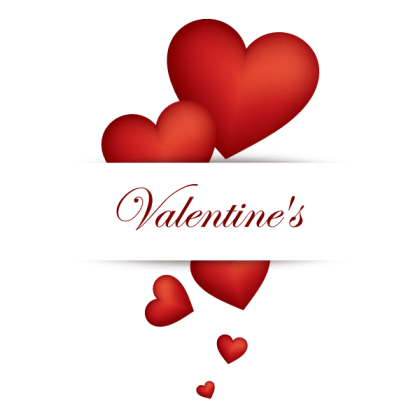Valentines Banner with Red Heart Vector Graphic