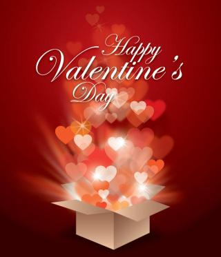 Vector Valentines Gift Box with Glowing Hearts and Magic Light Rays