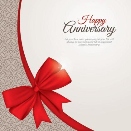 Happy Anniversary Greeting Card Template Vector