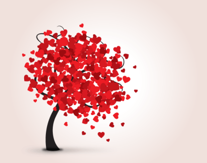 Love Tree with Red Hearts Valentine Card Vector Template