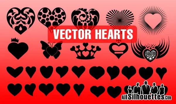 Heart Shape Silhouettes Vector Illustrator & Photoshop