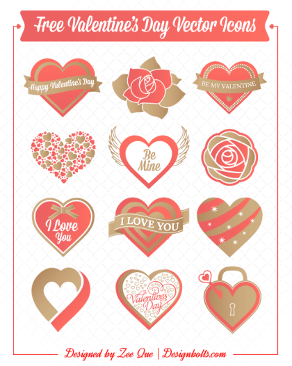 Valentine's Day Love Hearts, Rose Flowers Vector Icons