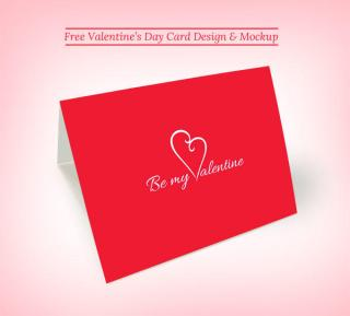 Vector Printable Valentine's Day Greeting Card Design Mockup PSD Template